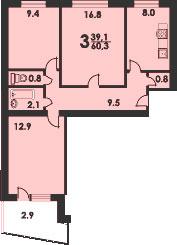 Серия 1-515/9ш, типовая планировка.